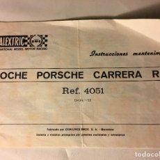 Scalextric: CATALOGO INSTRUCCIONES ORIGINAL COCHE SCALEXTRIC AÑOS 70 DE EXIN. Lote 109151627