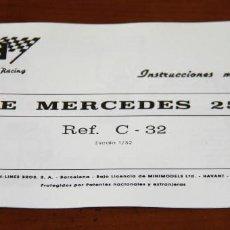 Scalextric: INSTRUCCIONES MANTENIMENTO EXIN MERCEDES 250 SL (REPRO DE GRAN CALIDAD). Lote 147245310