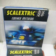Scalextric: LOTE DE DOS CARPETAS CON FICHAS DE COCHES MÍTICOS SCALEXTRIC. Lote 119084991