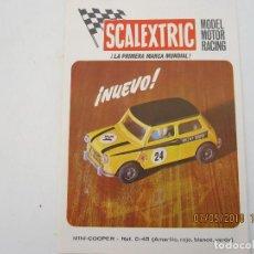 Scalextric: SCALEXTRIC PUBLICIDAD DEL MINI COOPER REFERENCIA C-45 1970. Lote 124595131
