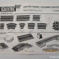 Scalextric: SCALEXTRIC EXIN DOCUMENTACION HOJA CATALOGO TRAMOS Y ACCESORIOS 2ª EDICION . Lote 124598419