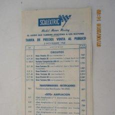 Scalextric: TARIFA DE PRECIOS DE VENTA AL PUBLICO 5 NOVIEMBRE 1968 SCALEXTRIC EXIN. Lote 124600711
