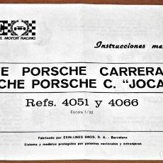 Scalextric: INSTRUCCIONES DE MANTENIMIENTO DEL PORSCHE CARRERA RS Y PORSCHE CARRERA RS JOCAVI SCALEXTRIC. Lote 126358803