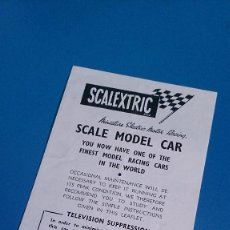 Scalextric: INSTRUCCIONES COCHES SCALEXTRIC TRI-ANG. Lote 129063011