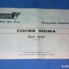 Scalextric: INSTRUCCIONES MANTENIMIENTO COCHE SIGMA REF. 4047 DE EXIN SCALEXTRIC ORIGINAL. Lote 133904982