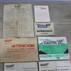 Scalextric: LOTE DOCUMENTOS SCALEXTRIC/ CATALOGO CIRCUITO, MANUAL DE INSTRUCCIONES, FICHAS TÉCNICAS DE COCHES.. Lote 134411946