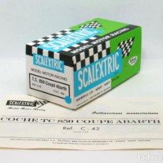 Scalextric: CAJA REPRO SCALEXTRIC EXIN TRIANG SEAT 850 COUPÉ ABARTH CON INSTRUCCIONES Y ETIQUETA. Lote 147603794