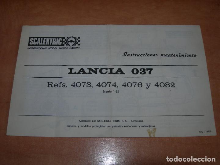 INSTRUCCIONES DE MANTENIMIENTO DEL COCHE LANCIA 037 DE SCALEXTRIC - 100% ORIGINAL EXIN - (Juguetes - Slot Cars - Scalextric Pistas y Accesorios)