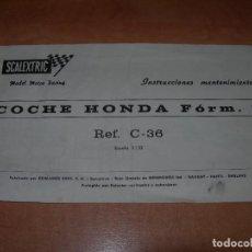 Scalextric: INSTRUCCIONES DE MANTENIMIENTO DEL COCHE HONDA FÓRMULA 1 DE SCALEXTRIC - 100% ORIGINAL EXIN -. Lote 137890174