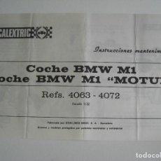 Scalextric: EXIN. INSTRUCCIONES MANTENIMIENTO COCHE BMW M1 ( ORIGINALES). Lote 154501174