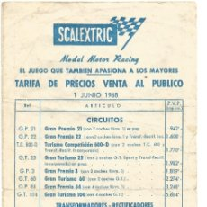 Scalextric: SLOT,LOTE TARIFAS SCALEXTRIC 1968 - 1977 - 1982 - 1983 - 1983 HOBBY POST Y 1992. Lote 178922986