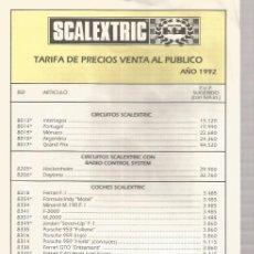 Scalextric: SLOT, TARIFA 1992 SCALEXTRIC. Lote 178924696