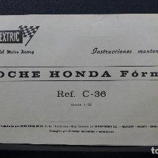 Scalextric: INSTRUCCIONES DE MANTENIMIENTO ORIGINALES SCALEXTRIC EXIN HONDA FORM. 1 REF. C - 36. Lote 185888773