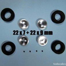 Scalextric: BRM 1/32 - LLANTAS ALEACIÓN 15 PULGADAS + 2 NEUMATICOS 22 X 7MM + 2 DE 22 X 9 - WHEELS. Lote 188595753