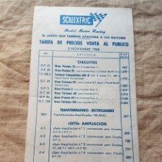 Scalextric: SCALEXTRIC TARIFA PRECIOS 1968 W. Lote 199192842