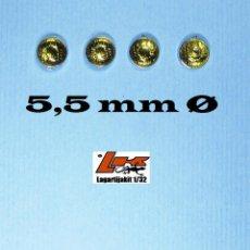 Scalextric: 4 FAROS AMARILLOS 5,5 MM GRABADOS CON ARO CROMADO - 1/32 1/24 KIT RESINA LIGHTS LENSES. Lote 199780986