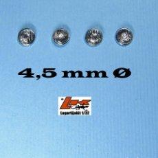 Scalextric: 4 FAROS TRANSPARENTES 4,5 MM GRABADOS CON ARO CROMADO - 1/32 1/24 KIT RESINA LIGHTS LENSES. Lote 199781241