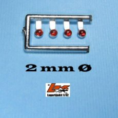 Scalextric: 4 FAROS ROJOS 2MM DE DIÁMETRO ARO CROMADO REALIZADOS EN MATERIAL PLÁSTICO ROJO TRANSPARENTE CON AR. Lote 218391363