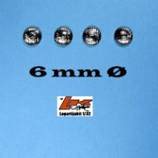 Scalextric: 10 FAROS TRANSPARENTES 6 MM GRABADOS CON ARO CROMADO - 1/32 1/24 KIT RESINA FARO. Lote 234559710