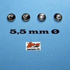 Scalextric: 4 FAROS TRANSPARENTES 5,5 MM GRABADOS CON ARO CROMADO - 1/32 1/24 KIT RESINA FARO. Lote 199781787