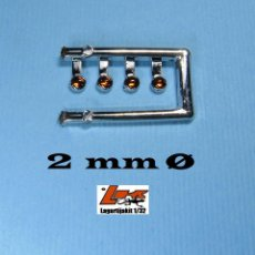 Scalextric: 4 FAROS NARANJA 2 MM CON ARO CROMADO - 1/32 - 1/24 - 1/43 - KIT RESINA RING LIGHTS LENSES. Lote 218391383