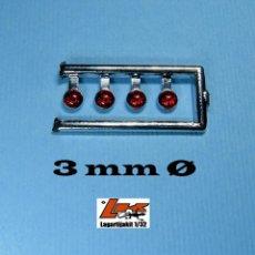 Scalextric: 4 FAROS ROJOS 3 MM CON ARO CROMADO - 1/32 - 1/24 - 1/43 - KIT RESINA FARO ROJO. Lote 199782371