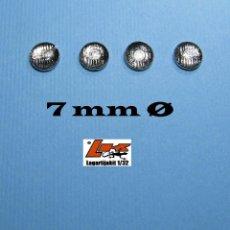 Scalextric: 4 FAROS TRANSPARENTES 7 MM DE DIÁMETRO GRABADOS CON ARO CROMADO REALIZADOS EN MATERIAL PLÁSTICO TRA. Lote 199782476