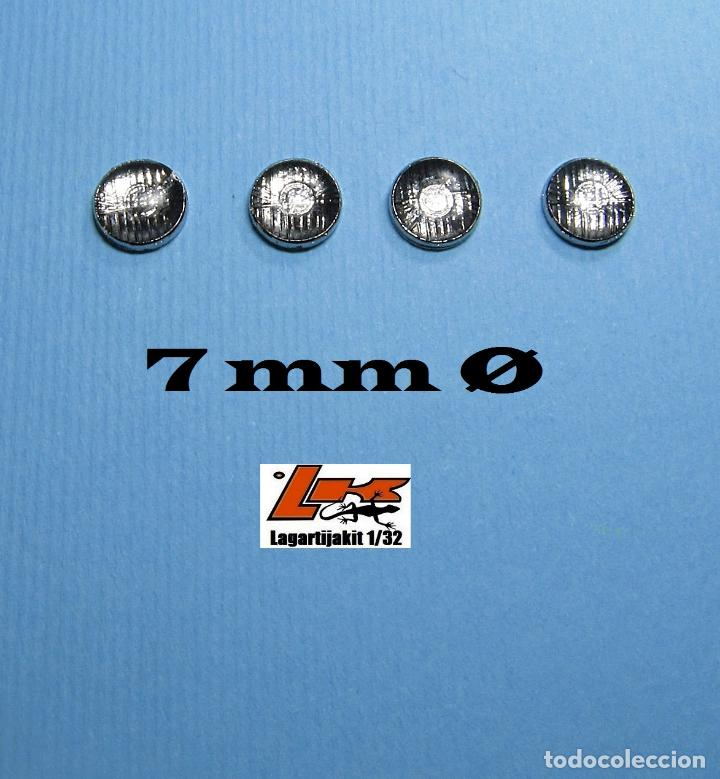 4 FAROS TRANSPARENTES 7 MM GRABADOS CON ARO CROMADO - 1/32 1/24 KIT RESINA LIGHTS LENSES (Juguetes - Slot Cars - Scalextric Pistas y Accesorios)