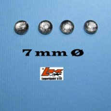 Scalextric: 4 FAROS TRANSPARENTES 7 MM GRABADOS CON ARO CROMADO - 1/32 1/24 KIT RESINA LIGHTS LENSES. Lote 199782481