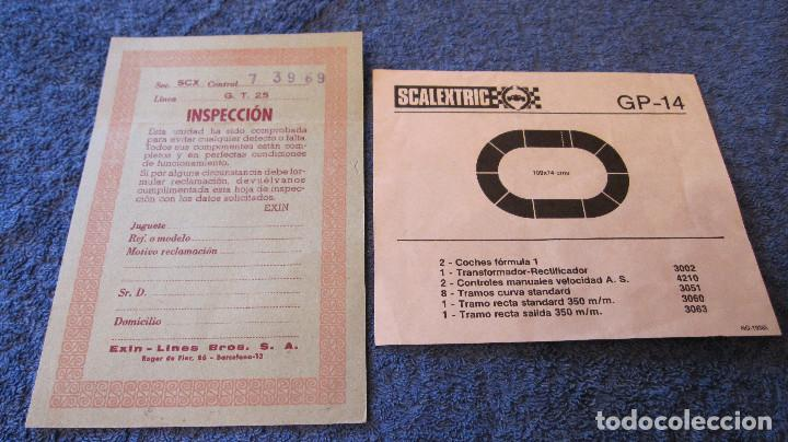 SCALEXTRIC EXIN ORIGINAL: INSPECCION GT 25 Y GP 14 (Juguetes - Slot Cars - Scalextric Pistas y Accesorios)