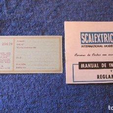 Scalextric: SCALEXTRIC EXIN ORIGINAL: MANUAL INSTRCCIONES REGLAMENTO E INSPECCION. Lote 209007958