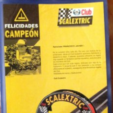 Scalextric: SCALEXTRIC ORIGINAL: CLUB SCALEXTRIC FELICIDADES CAMPEON. HOJITA. Lote 210651706