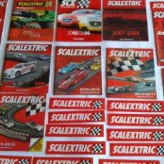 Scalextric: SCALEXTRIC TECNITOYS LOTE DE CATÁLOGOS Y ADHESIVOS. LO DE LAS FOTOS. Lote 221464621