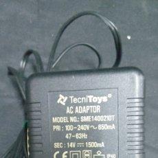 Scalextric: TRANSFORMADOR ELECTRÓNICO SUPER POWER BOOST- TECNITOYS AC ADAPTADOR- 240/14 V - CLAVIJA ROJA. Lote 222268728