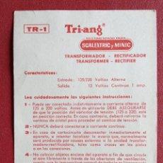 Scalextric: SCALEXTRIC. CARATERÍSTICAS E INSTRUCCIONES DEL TRANSFORMADORRECTIFICADOR. TRI-ANG.. Lote 237115115