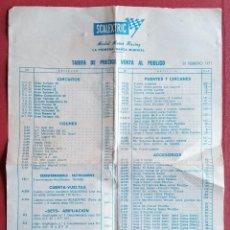 Scalextric: TARIFAS DE PRECIOS PARA ARTÍCULOS SCALEXTRIC FEBRERO 1971. CIRCUITOS, COCHES, ACCESORIOS........ Lote 237115640