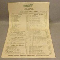 Scalextric: SCALEXTRIC . * TARIFA DE PRECIOS VENTA AL PUBLICO . 30 SEP 1970* . BUEN ESTADO.. Lote 247245080
