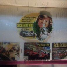 Scalextric: PACK 4 COLECCIÓNABLE : 3 CALENDARIOS DE BOLSILLO CIRCUITOS ANTIGUOS +1 PEGATINA SCALEXTRIC EXIN. Lote 247303275