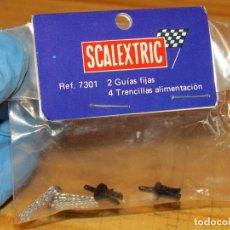 Scalextric: SCALEXTRIC EXIN SRS - 2 GUIAS FIJAS Y 4 TRENCILLAS ALIMENTACION - 7301 - NUEVAS A ESTRENAR. Lote 256048545