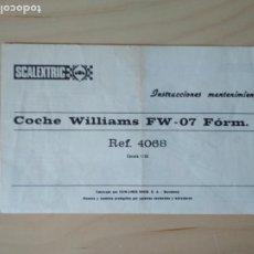 Scalextric: SCALEXTRIC INSTRUCCIONES MANTENIMIENTO COCHE WILLIAMS FW FORMULA 1 REF. 4068. Lote 273330413