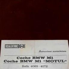 Scalextric: INSTRUCCIONES DE MANTENIMIENTO BMW M1. Lote 295426878