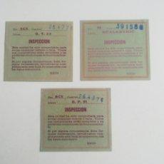 Scalextric: LOTE DE 3 ANTIGUAS TARJETAS DE INSPECCIÓN SCALEXTRIC.. Lote 295490458