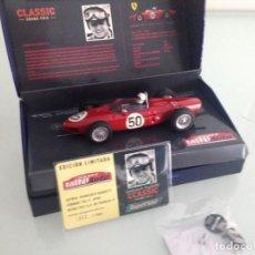 Scalextric: SLOT, SUPERSLOT H2703A,FERRARI 156 F1 Nº50, GIANCARLO BAGHETTI, 1º GP REIMS 1961, SLOTMINIAUTO 2006. Lote 145490226