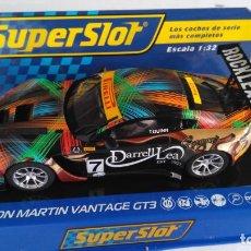 Scalextric: SUPERSLOT SCALEXTRIC UK INGLÉS,ASTON MARTIN VANTAGE GT3,CAMPEÓN AUSTRALIAN GTCON LUCES.DIGITALIZABLE. Lote 156872474