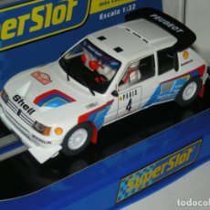 Scalextric: PEUGEOT 205 EVO 2 WORLD CHAMPION 1986 SUPERSLOT/SCALEXTRIC NUEVO EN CAJA. Lote 180902310