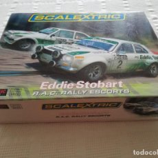 Scalextric: SCALEXTRIC UK EDDIE STOBART R.A.C. RALLY ESCORTS FORD ESCORTS MKI Y MKII. Lote 222542255