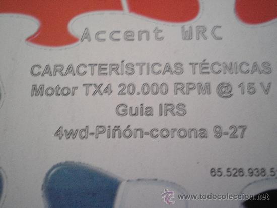 Scalextric: CARTRIX COMP SCALEXTRIC HYUNDAY ACCENT SER LTDA HOGUERAS DE SAN JUAN AÑO 2005 Nº 87 DE 200 - Foto 2 - 35069959