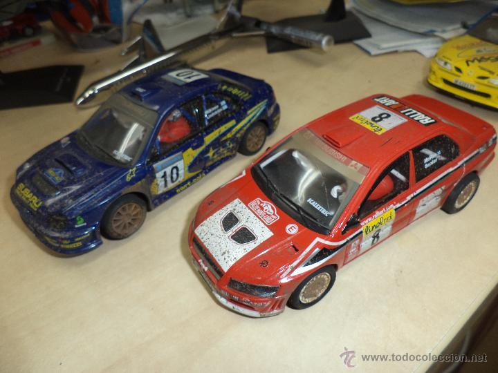 Scalextric: Lote 2 coches Scalextric Tecnitoys efecto barro.Subaru Impreza y Mitsubishi Lancer. - Foto 2 - 54137136