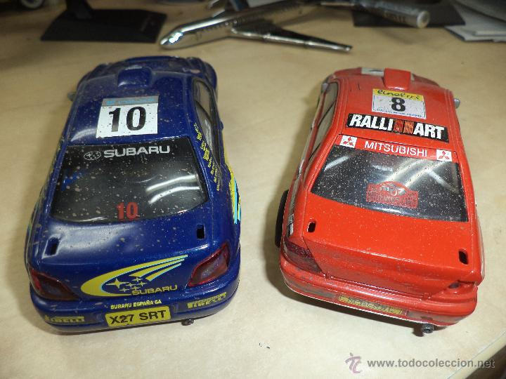 Scalextric: Lote 2 coches Scalextric Tecnitoys efecto barro.Subaru Impreza y Mitsubishi Lancer. - Foto 3 - 54137136