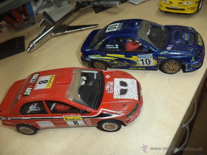 Scalextric: Lote 2 coches Scalextric Tecnitoys efecto barro.Subaru Impreza y Mitsubishi Lancer. - Foto 5 - 54137136